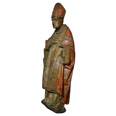 Amazing Painted Wooden carved Sculpture Bishop XVth Century France