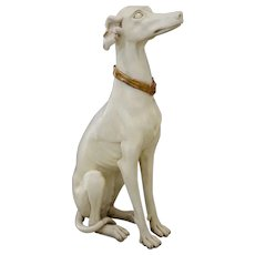 Painted Wood Sculpture English Greyhound 1920