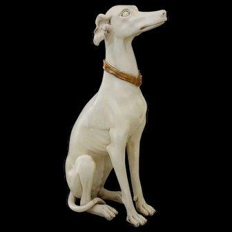 Painted Wood Sculpture English Greyhound 1920