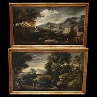 Fine  pair of oils paintings on canvas XVIIth century landscape  / seascape with characters- Venice