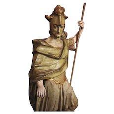 Saint Florian Amazing  Sculpture Painted Wood XVII Century France