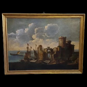 Oil On Canvas 17 th  Century seascape with people - flemish school