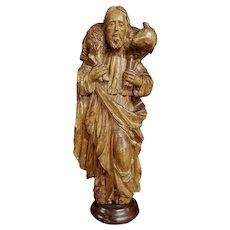 Wood Sculpture The Good Shepherd XVI Century