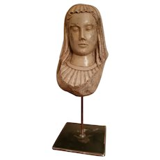 Sculpture Head Of Virgin In Hard Stone Renaissance 16 th century
