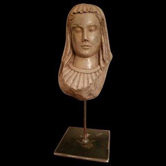 Sculpture Head Of Virgin In Hard Stone Renaissance 16 th century