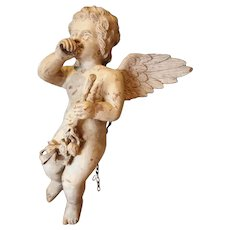 Wood carved sculpture putto 19 th century Italy