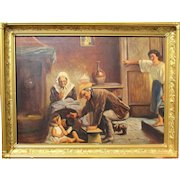 American artist Harvey A Brownson cowboy interior scene oil painting highly detailed with figures wow!!