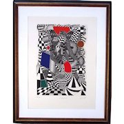 Well listed Brazilian/French artist Roland Cabot(b.1929)op art style colored etching signed and numbered great condition