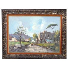 Great example of well listed Antonio De Vity Italian artist oil painting rural landscape signed with original artist stamp on back also!!