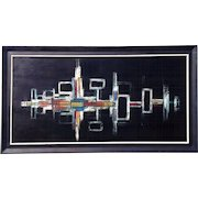 Very large 1960-70s retro space age futuristic wave form oil painting on canvas great look!!