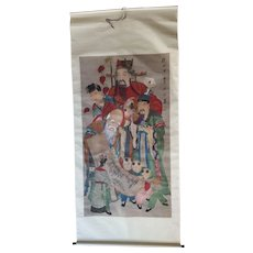 Rare & Important Chinese Qing Dynasty Scroll Painting The 3 Immortals, Silk Mounted 19C.