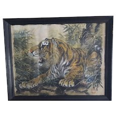 1950s Japanese Watercolor Painting on Silk, Tiger Lying in Wait
