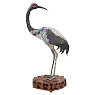 Vintage Chinese Silver Enamel Crane with Turquoise and Coral Beads