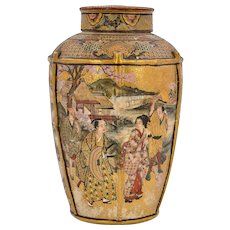 Meiji Japanese Satsuma Earthenware Cover Vase Tea Caddy Geisha Samurai