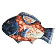 Old Japanese Imari Arita Porcelain Fish Shaped Plate Dish