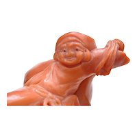 Vintage Japanese  Coral Carved Carving Daikoku Lucky God Figure Figurine