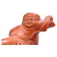 Vintage Japanese  Coral Carved Carving Bodi Hotei Buddha Figure Figurine