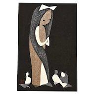 Old Japanese Kaoru Kawano Unmounted Woodblock Print Doves and Girl