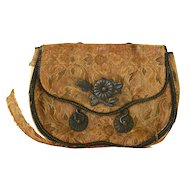 Old Japanese Brocade Silk Tobacco Pouch Purse Silver Imperial Chrysanthemum AS IS