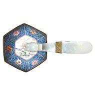 19C Chinese White Jade Carved Carving Dragon Belt Hook Handle Enamel Iron Mk