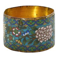 1900's Chinese Gilt Cloisonne Enamel Napkin Ring with Flowers