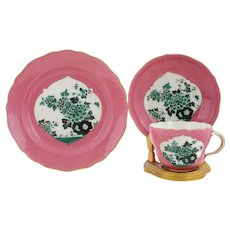 Meissen Hand Painted Light Pink Floral Gilt Cup & Saucer