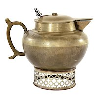 1900's Chinese White Copper Brass Paktong Baitong Teapot Tea Kettle Calligraphy