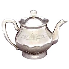 1930's Chinese Export Solid Silver Tea Kettle Teapot with Flowers