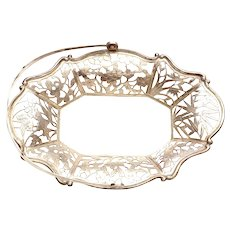 """1930's Chinese Sterling Silver Reticulated Bamboo & Bird Tray Basket Marked """"Sterling YSC"""""""