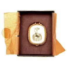 France Fame Toujours Moi Corday Golden Unicorn Solid Perfume Compact Box