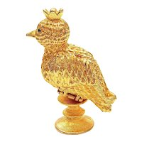French Fame Corday Le Coq D'Or Solid Perfume Compact Box Bottle Golden Cockerel