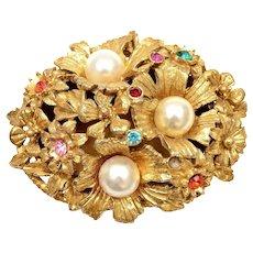 Vintage Florenza Italy Faux Pearl Rhinestones Gold Tone Trinket Jewelry Box Mk
