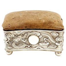 1900's Chinese Solid Silver Jewelry Sewing Box Dragon Mk Pin Cushion Top