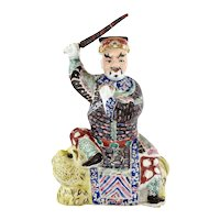 1900's Chinese Famille Rose Porcelain Immortal Buddha Warrior Sword Lion Figure