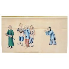 1930's Chinese Frame Rice Paper Pith Watercolor Painting Arresting Criminal