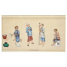 1930's Chinese Frame Rice Paper Pith Watercolor Painting Criminal Punishment