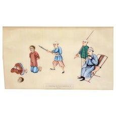 1930's Chinese Frame Rice Paper Pith Watercolor Painting Execution Beheading