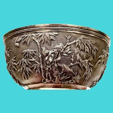 19th Century Chinese Sterling Silver Repousse Bowl Bamboo & Bird Marked