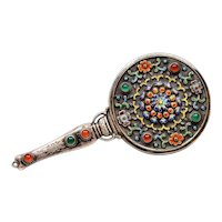 Old Chinese Solid Silver Enamel Glass Bead Hand Held Vanity Mirror