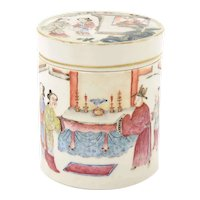 19C Chinese Famille Rose Porcelain Tea Caddy Box Figure Figurine Lady