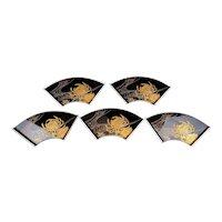 Set 5 Old Japanese Makie Lacquer Tea Plate Tray Chrysanthemum Original Box Sg