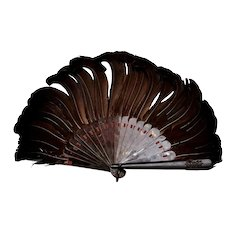 1920's Feather & Faux Tortoise Shell Carved Carving Relief Monogram Fan