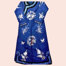 1900's Chinese Silk Brocade Embroidery Lady's Robe Bamboo Orchids Butterfly