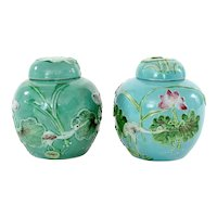 1930's Chinese 2 Famille Rose Turquoise Porcelain Lily Crane Tea Caddy Vase Jar