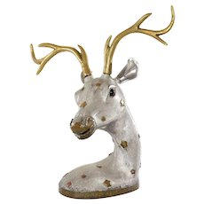 Old Chinese Pewter & Brass Copper Stag Deer Figure Figurine Statue Inlay Eyes