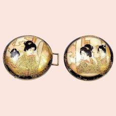 "Old Japanese Satsuma Earthenware Geisha Figure Belt Buckle Large Button 1.45"""