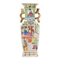 1900's Chinese Export Famille Rose Medallion Porcelain Vase Lady Figure Figurine
