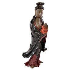 Chinese Fuzhou Fujian Foochow Wood Lacquer Kwan Quan Guan Yin Buddha Baby Figure