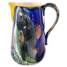 Majolica Earthenware Cobalt Blue Pitcher with Relief Fish Decoration