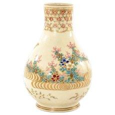1900's Japanese Satsuma Earthenware Vase Flowers & Butterfly Mk Taizan Yohei